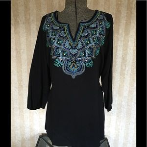 Karen Scott embroidered top.